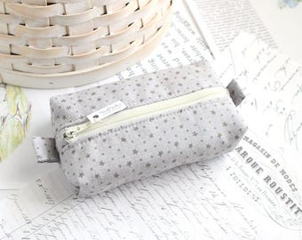 Gray Stars Small Boxy Pouch Star Coin Purse Gray Change Purse Credit Card Holder