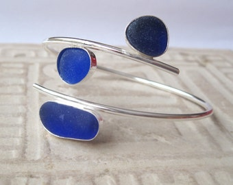 Sea Glass Bangle -Cobalt Blue Sea Glass Bracelet