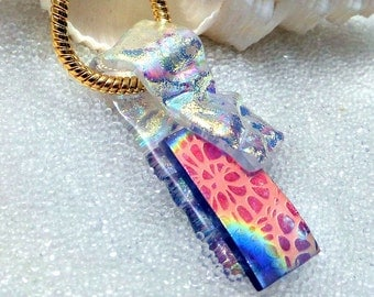 Dichroic Glass Pendant, Fused Glass Necklace, Kiln Fired Glass, Art Glass Pendant