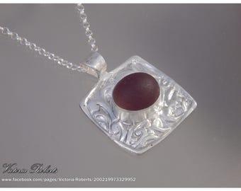 Purple Sea Glass in a fine silver Victoria setting - 18 inch sterling silver rollo chain