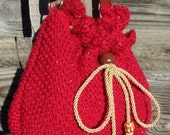 RESERVED for tokeyuko, RED metallic Shoulder Purse, Hand Knitted, Pillow soft, RedRobinArt
