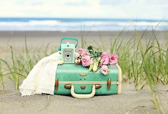 Vintage suitcase photograph,Imperial camera, shabby chic,beach,ocean,floral photography,still life,cottage decor,