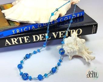 Aquamarine Murano glass Necklace Gustav Klimt style