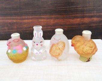 Vintage Old World Easter Light Covers, Bunny in a Basket, Easter Bunny Rabbit, Egg with Chick, Yellow Chick, Unique Vintage Easter Decor