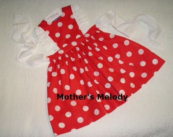 Size 4, Ready to Ship.  Red dotted Pinafore Dress with white ruffles and sash.