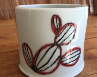 Goodpottery's Handmade porcelain pottery mug with hand painted cactus