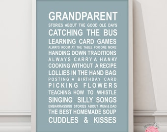 Grandparents - Bus Roll Typography Wall Art Poster print