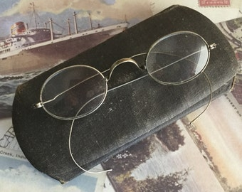 Antique Eyeglasses with Wire Rims and Case - Circa Early 1900's