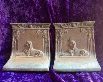 "Rare Bookends/1922 1922 Bradley & Hubbard ""Sphinx"" Cast Iron Bookends/Tutankhamens Tomb/"