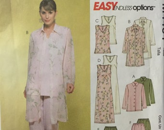 McCalls M4464 sewing pattern Dress Jacket Duster Robe Blouse top, pants, skirt patterns misses size 10 12 14 16 uncut pattern Easy options