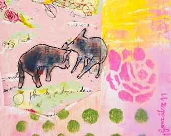 Art Print download, digital Print, Printable download, digital 300 DPI JPG pink pigs flowers, instant download Spanish Art