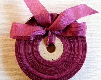 Vintage 1930's-40's French Woven Ribbon -Milliners Stock- 5/8 inch Maroon