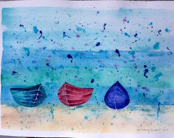 Original Watercolour Painting of Three Boats on a Beach