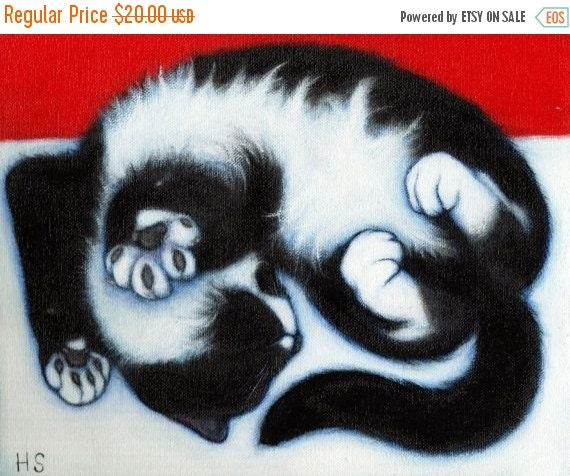 HOLIDAY SALE Tuxedo cat cards. Paws. Set of 5 cards