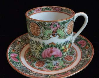 Rose Medallion Demitasse Cup and Saucer from the 1930's