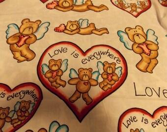 Sweet Valentine Fabric~Love is everywhere~Angel Teddybear with Heart Fabric