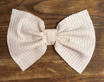 Oversized Nuetral Ribbed Cotton Bow on a Pinback