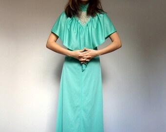 Vintage Grecian Dress Goddess Dress 70s Maxi Dress Disco Dress Mint Green Maxi 70s Boho Maxi - Small S