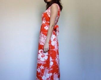 Orange Sundress Vintage Hawaiian Dress Sleeveless Summer Maxi Tropical Print Dress Long Floral Print Dress - Medium to Large M L