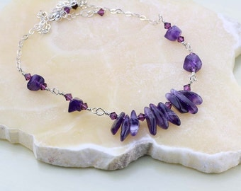 Amethyst Necklace- OOAK Purple Gemstone Necklace, Unique, Crown Chakra- February Birthstone
