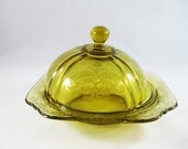 Amber Depression Glass Butter Dish, 1970's Federal Glass Company
