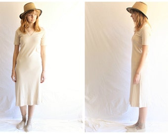 simple cotton minimalist dress | tshirt dress midi | 70s vintage