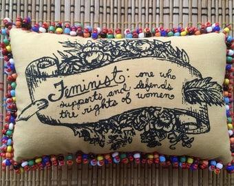 Feminist Definition:  Icon Hand-Beaded Mini Pillow, 2.0