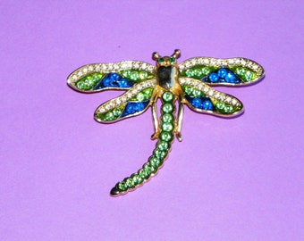 "Dragonfly Brooch or Pin Accented with Green, Blue and White Rhinestones, 2 7/8"" Wide and 2 1/4' Long"