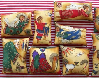 Set of 11 Christmas Nativity Ornies Grungy Primitive Tucks Shelf Sitters Winter Holiday Home Decor Gift Stocking Stuffer