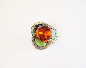 Scottish pebble brooch: Mid century engraved celtic silver tone, Scottish pebble and amber glass kilt pin, Victoriana pin, signed Miracle