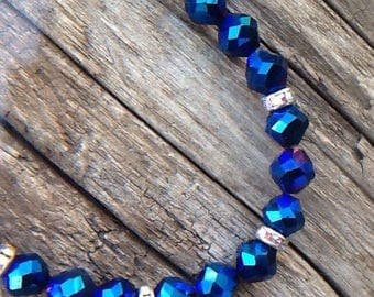 Starlight sparkle - Iridescent Blue, polished crystal necklace