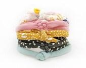 Baby Girl Headband, Baby Headband Set, Skinny Headband Set, Infant Headband Set, Knotted Headband, New Baby Gift, Baby Shower Gift, Baby Bow