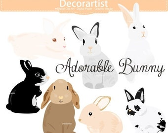 ON SALE Easter clipart, bunny clipart,rabbits clipart, baby rabbit clipart,easter day clipart, INSTANT Download