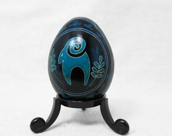 Pysanky, Ukrainian, Ram, Goat, Sheep, Easter Egg, Harvest, Blue Easter Egg, Fall Harvest, Thanksgiving, Ukrainian Pysanky - A43C