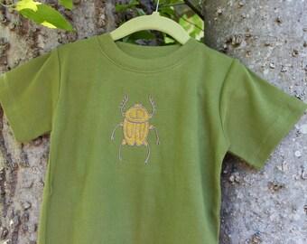 Military Green Beetle Shirt // Baby Boy Bug Infant Shirt// Embroidered Kid Top // Boy's Summer Top// Modern Boy's Clothing// Boho Baby