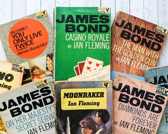 Vintage James Bond Mini Library - Gift For Dad - Gift For Him - Vintage Book Collection - Pan Classics - Ian Fleming - Book Lover Gifts