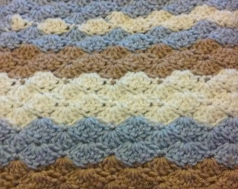 NEW Baby Blanket, Blue Crochet Blanket, Infant Bedding, Baby Shower, Crochet Baby Blanket,