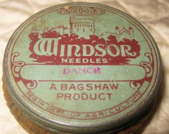 "Rare Windsor Needles, Phonograph Needle Case With Corduroy ""Record Cleaner"" Base, 1924"