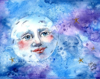 Blue Moon, moon Painting, moon Face, original painting, watercolor, Wall art, man in the moon, child decor, baby decor, celestial art, eclip