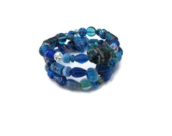 Bohemian  Wire Wrap Memory Wire Bracelet Hippie Gypsy Blue Beaded