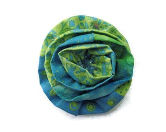 Fabric Flower Brooch, Green Blue Print Pin Fashion Accessory