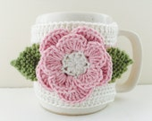 Floral Cup Cosy, Cup Sleeve, Mug Cosy, Cup Cozy, Mug Sleeve, Mug Warmer - Pure Wool - Fleur
