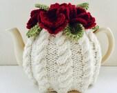 Floral Cabled Tea Cosy - Berries & Cream - Size Medium - fits standard 6-cup teapots