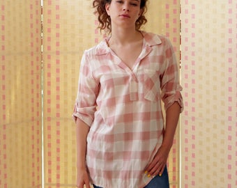 Women's shirt,  checkered shirt, tunic, blouse, top, white and pink,  cotton , M