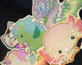Cute mixed sticker set, kawaii stickers featuring unicorn, dragon, axolotl and others, hologram stickers, kawaii unicorn, planner stickers