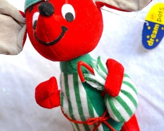 Vintage Christmas Mouse - Dream Pet in Green Stripe Pajamas - Merrie Mouse # 464