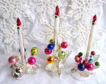 Vintage Christmas Mercury Glass Flame Candle Centerpieces
