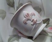 MINT Beautiful White & Burgundy Ceramic Fleur De Lis Country French Pot - Home Decor - Shabby - Vintage