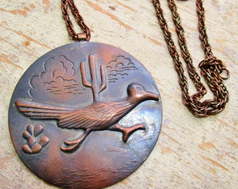 """Vintage Copper Roadrunner Raised Detailed Solid Copper Pendant Chunky Rope Chain Necklace 24"""" ROUND DISC 3"""" Across 70s Southwestern Design"""