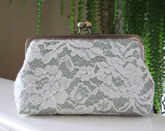Ivory Chantilly Lace Clutch,Floral Lace Clutch,Bridal Accessories,Wedding Clutch,Bridal Clutch,Bags And Purses